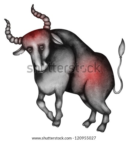 Taurus. Zodiac sign, symbol in watercolor style. Part of a set ot 12