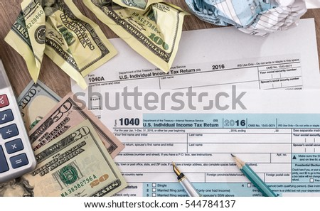 W4 w9 tax form money on stock photo 573588259 shutterstock for 1040 line 28 tax table