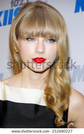 Taylor Swift at the KIIS FM's 2012 Jingle Ball held at the Nokia Theatre L.A. Live in Los Angeles, United States, 011212.