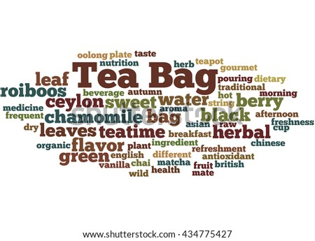 Tea bag, word cloud concept on white background.