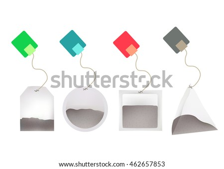 tea bags illustration labels round rectangle stock vector