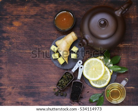 Tea set with ginger, lemon and honey.