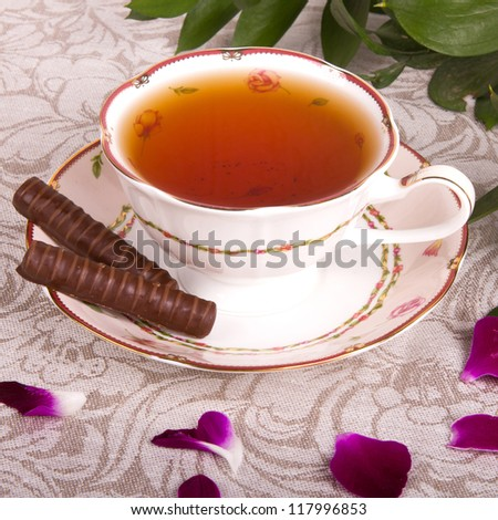 tea with flowers