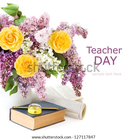 Teacher day (still life with huge lilac and roses bunch, book, pen, map  and knife sharpener isolated on white background)