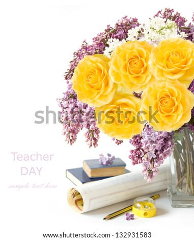 Teacher day (still life with lilac and rose flower bunch, map, book, pencil and sharpener isolated on white background)