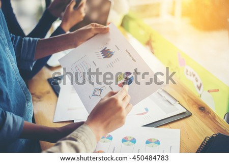 team business woman hands working and holding business graph information diagram.