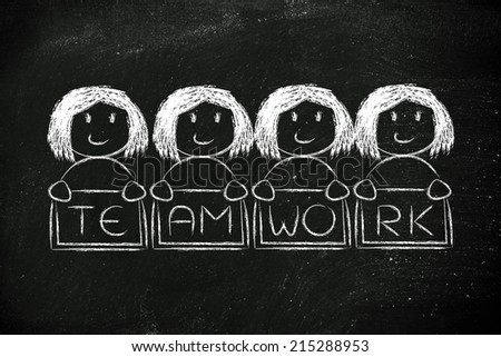 team work and workforce, funny team of women