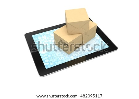 Technology business concept of shipping: cardboard package boxes on tablet. 3d rendering.