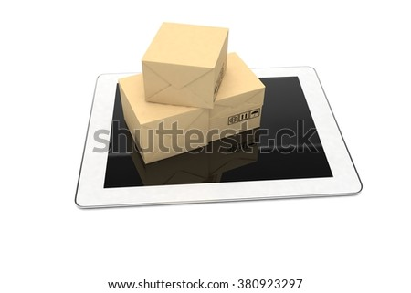 Technology business concept, shipping: cardboard package boxes on tablet