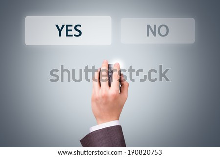 Technology concept, businessman hand holding mouse with like text button.