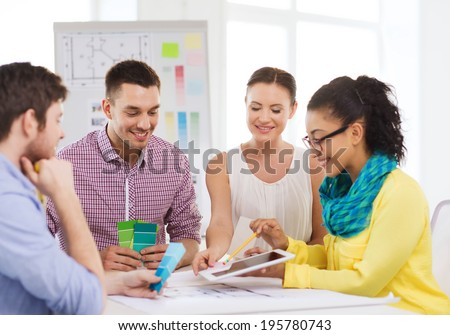 Education interior design office concept smiling stock photo technology education interior design and office concept smiling interior designers with color samples malvernweather Choice Image