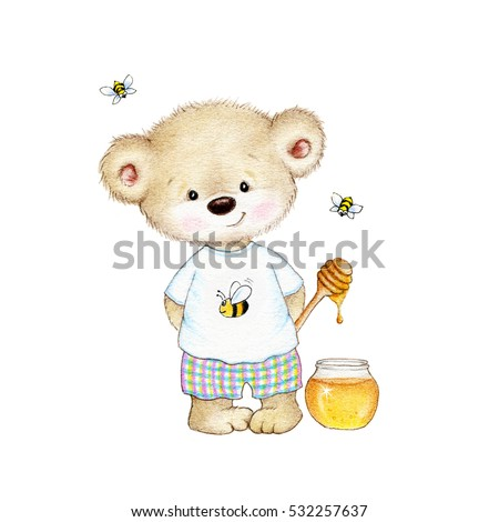 Teddy bear, honey and bees