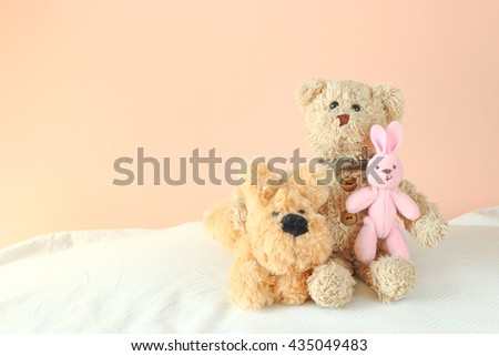 Teddy bear ,little rabbit and cute puppy doll