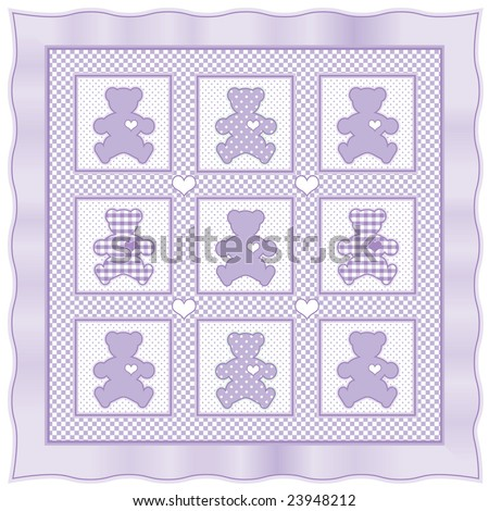 Teddy Bear Quilt Old Fashioned Patchwork Stock