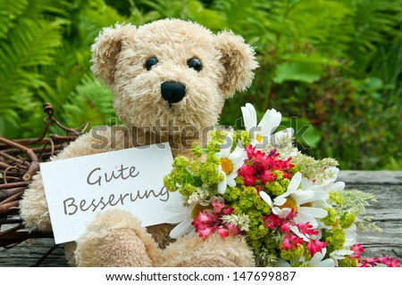 teddy bear with flowers and card with lettering get well/get well/teddy