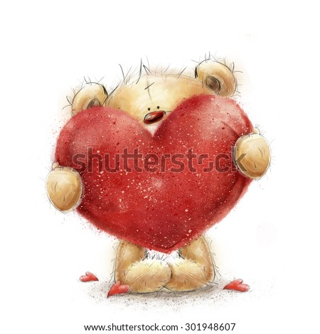 Cute bear big red heart love 563784637 shutterstock teddy bear with the big red heartlentines greeting card love designlove voltagebd Images