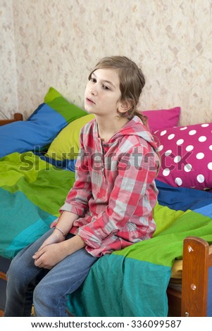 Teen girl frustration cry to sitting near bed