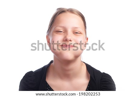 Teen girl making funny faces