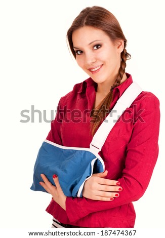 teen girl with broken arm in a sling, white background