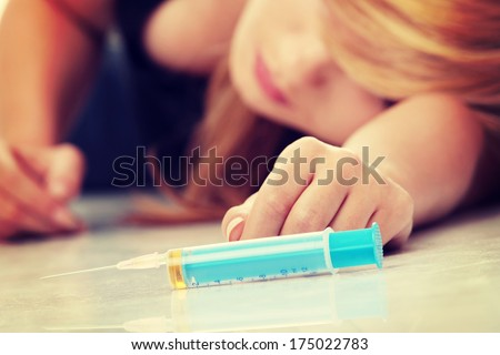 Teen narcotic addicted isolated on white background