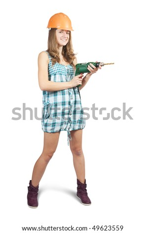 teenage girl  in a hard hat with drill over white
