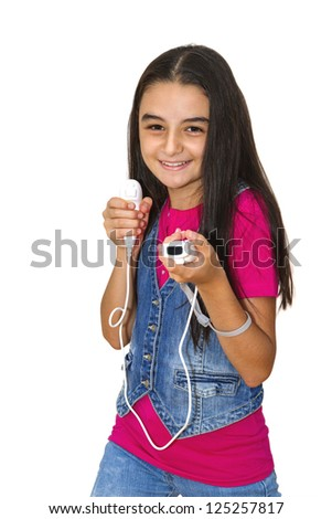 Teenage girl playing video game, isolated on white background