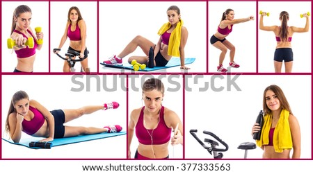 Teenage girl sport collage