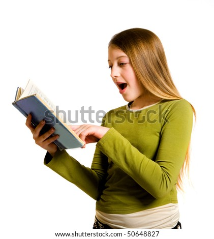 teenage girl with book isolated on white background