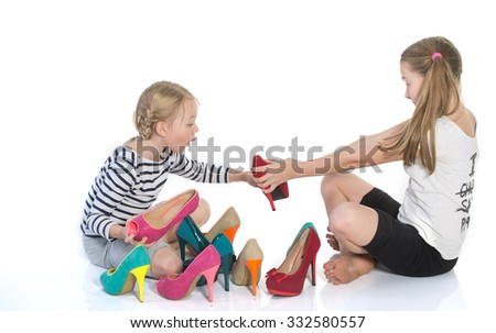 teenage girls choose shoes