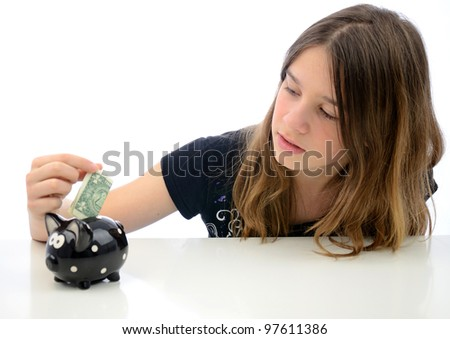 Teenager with dollar savings