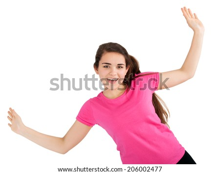 teenager with raised hands