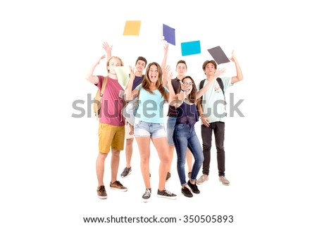 teenagers at school isolated in white baclground