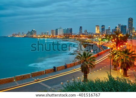 Tel Aviv, Israel. After sunset view from Jaffa