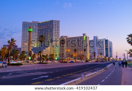 TEL AVIV, ISRAEL - FEBBRUARY 25, 2016: The coastal district with its luxury hotels looks great in the evening, on February 25 in  Tel Aviv.