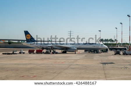Tel Aviv, Israel - May 12, 2016: Lufthansa aircraft in the Tel Aviv airport.Lufthansa is the largest airline in europe.