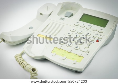Telephone isolated on white background close up for concept
