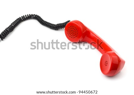Telephone receiver and cable isolated on white background