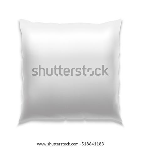 Template White Blank Realistic Square Pillow to Sleep . Empty Mock Up. illustration