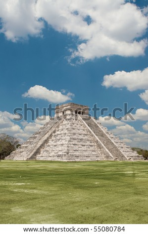 Temple of Kukulkan Pyramid (also known as El Castillo) in Chichen Itza, Mexico