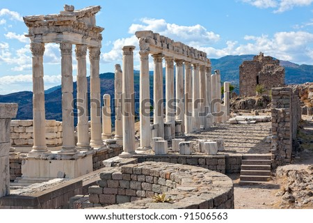 Temple of Trajan at Acropolis of Pergamon or Pergamum in Turkey. Roman period.