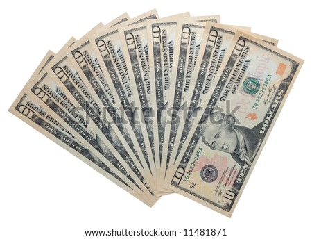 Ten dollar banknotes isolated over white background with clipping-path