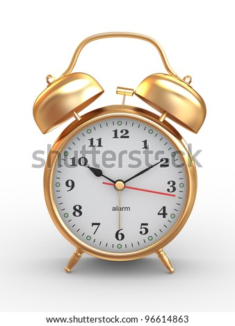 Ten o'clock. Old-fashioned alarm clock on white background. 3d