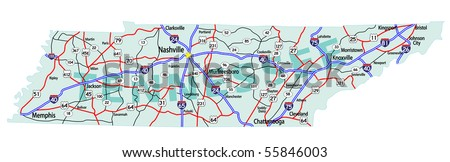 Tennessee State Road Map Interstates Us Stock Vector - Tennessee on us map
