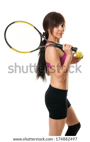 tennis player with racket on white isolated