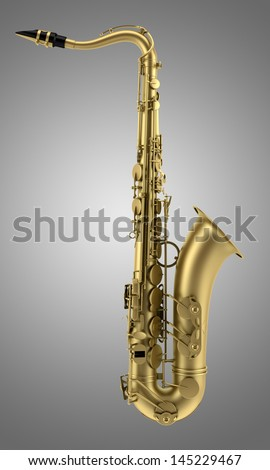 tenor saxophone isolated on gray background
