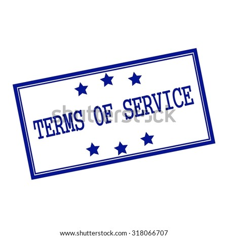 terms of service blue-black  stamp text on background white and star