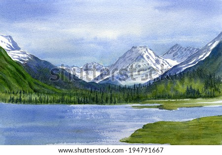 Tern Lake with Mountains.  Landscape watercolor painting of snow covered mountains with a lake in the foreground under a cloudy sky.