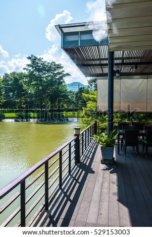 Terrace with lake at Chiang Rai province, Thailand.