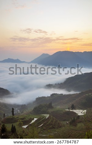 Terraced mountains clouds