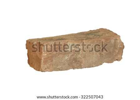 Terracotta old hand-formed brick of irregular shape isolated on white background